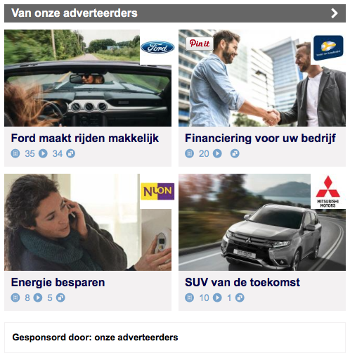 Brand Generated Content op NU nl. Screenshot van een advertentieruimte.