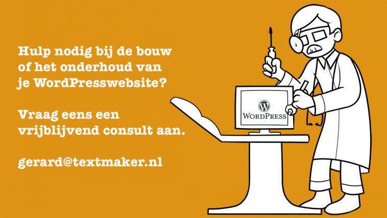 Plaatje van een WordPressdokter met een link naar gerard@textmaker.nl