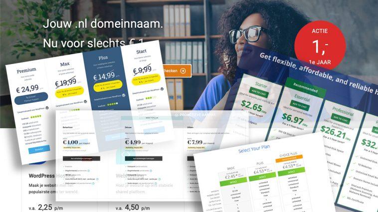 Collage met websites van hostingpartijen